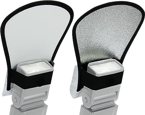 Difusor de Flash Ajustable para Cámara Réflex / Reflector Plateado ...