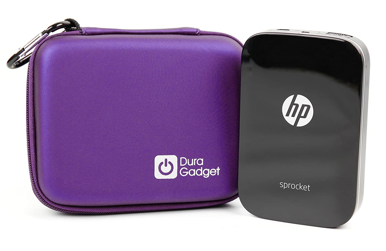 Custodia Rigida Per HP Sprocket Pocket | Polaroid ZIP w/ZINK Tecnologia Zero Ink Printing - Con Mini Moschettone + Tasca Interna - Nero - DURAGADGET