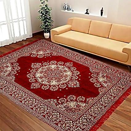Justway Ethnic Velvet Touch Maroon Cotton Carpet - 55x78 inch (FULL6)