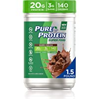 Pure Protein SuperFood, Keto Diet Friendly, Gluten Free, Plant Based Protein Powder, Dark Cocoa, 1.51lbs