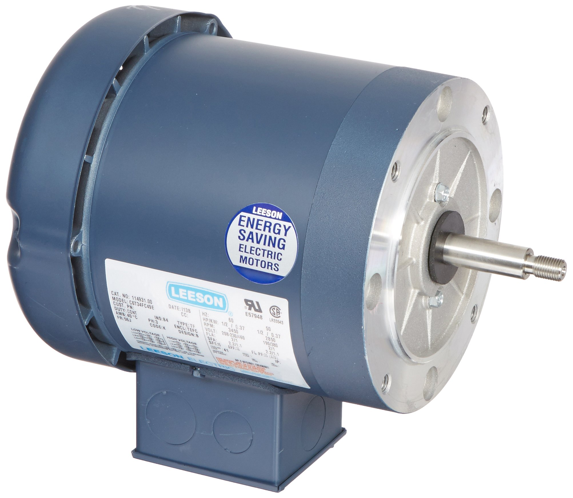 Leeson 114931.00 Jet Pump Motor, 3 Phase, 56J Frame, Round Mounting, 1/2HP, 3600 RPM, 208-230/460V Voltage, 60/50Hz Fequency