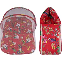 Baby Bundles Mattress with Mosquito Net Bed and Sleeping Carry Bag/Mosquito net for Baby .(Red Pack of 2)