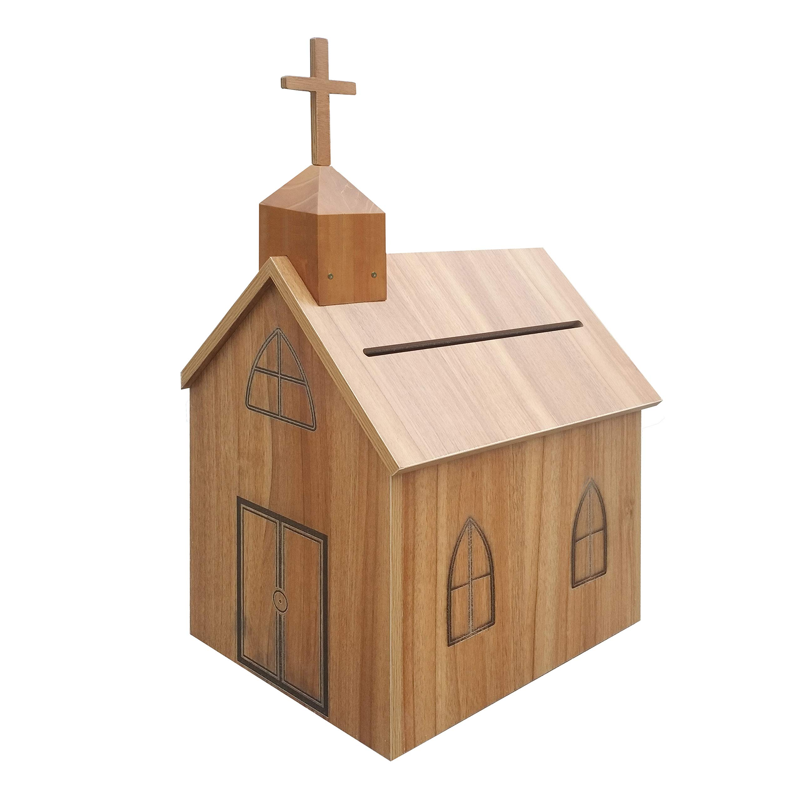FixtureDisplays Church Steeple Box Collection Box Tithing Donation Box Fundraising Charity Box with Cross 21397-C-FBA Fulfilment by Amazon by FixtureDisplays