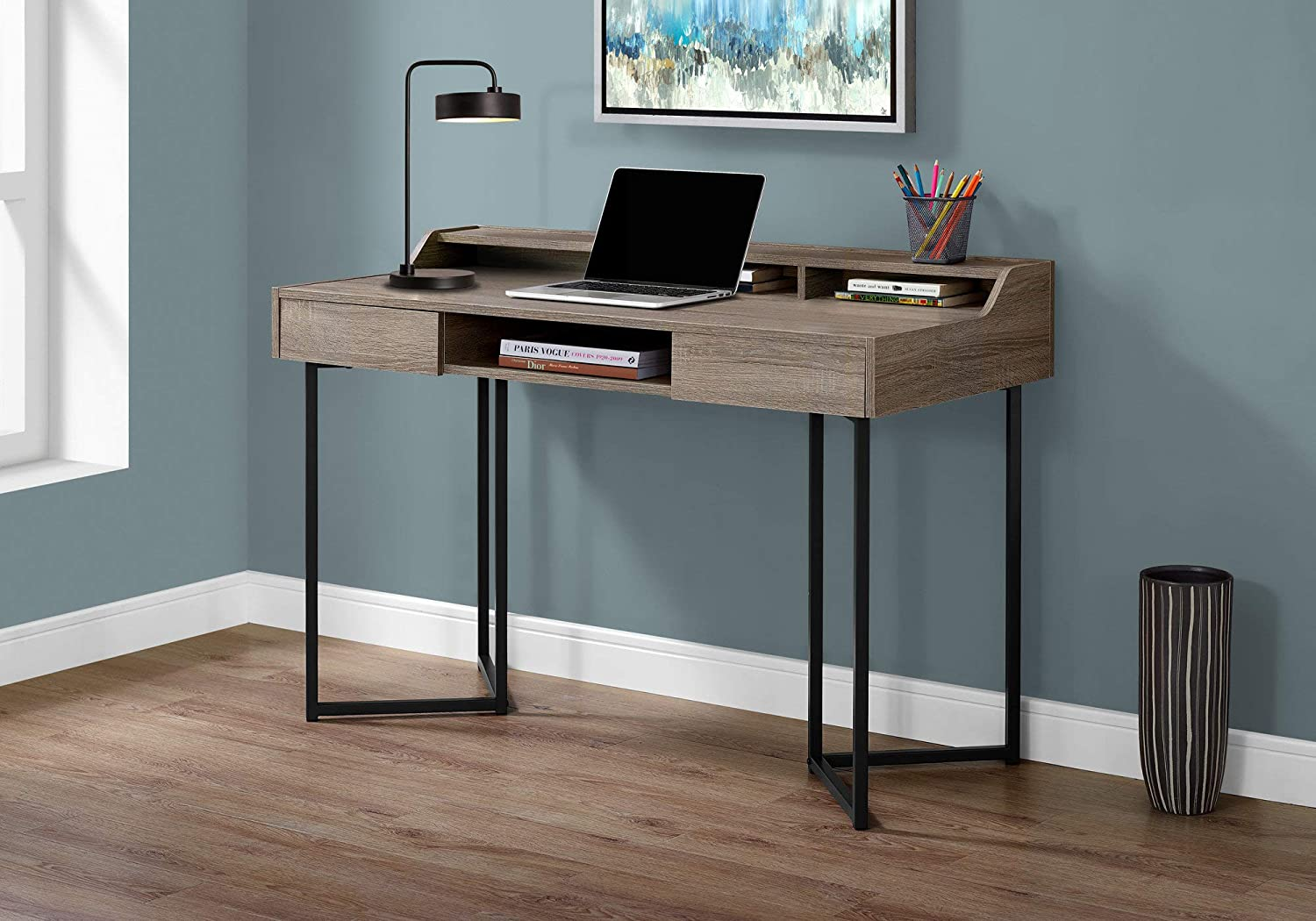 """Monarch Specialties 7360 Computer Desk-Modern Contemporary Style-Laptop Table for Home & Office with Hutch Drawers and Shelves, 48"""" L, Dark Taupe"""