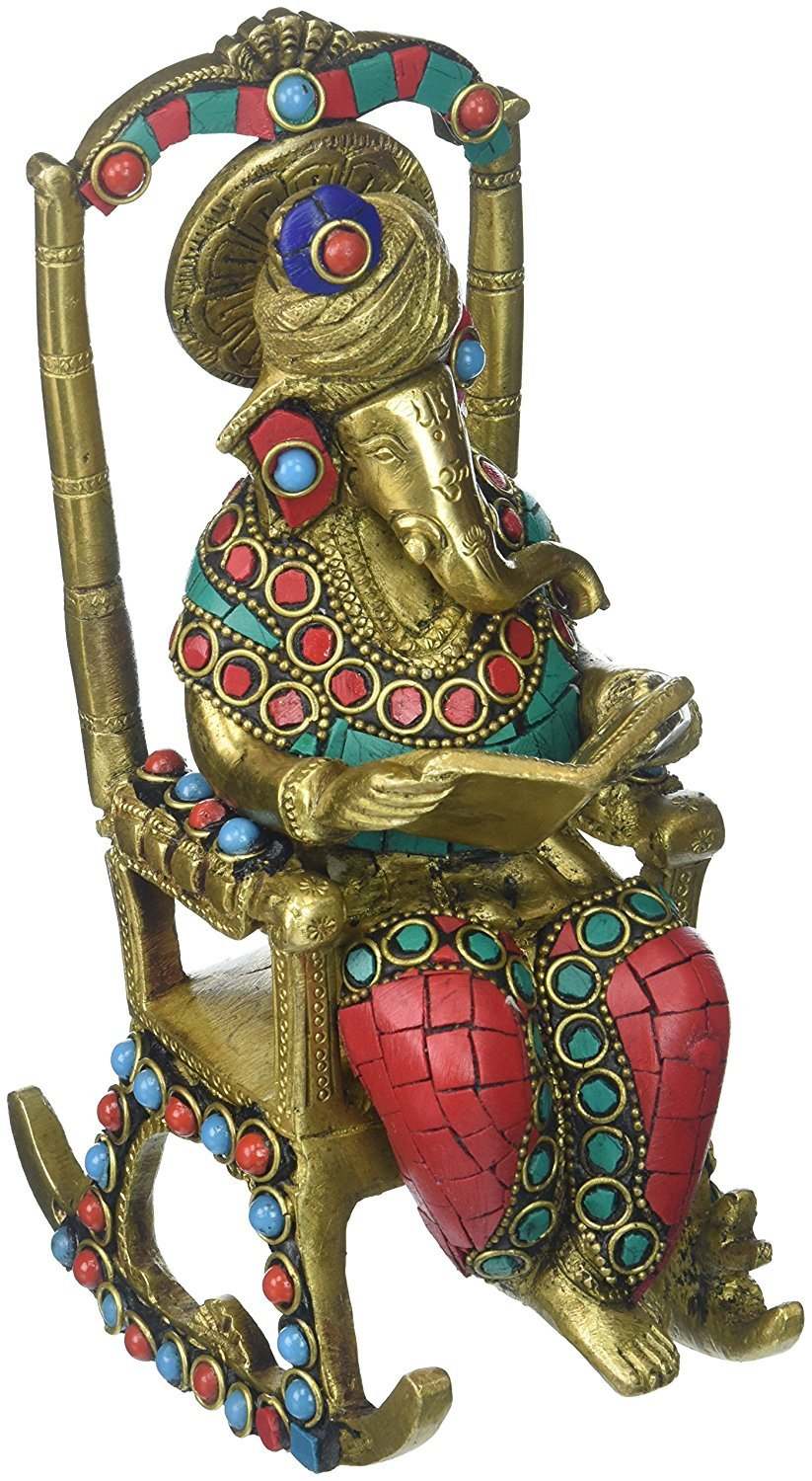 Phenomenal Amazon Com Divinetm Ganesha Sitting On Chair Multicolor Complete Home Design Collection Barbaintelli Responsecom