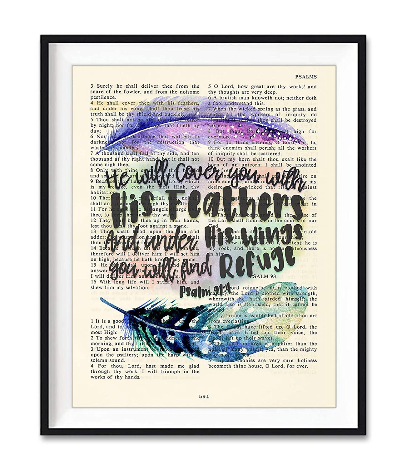 He Will Cover You with His Feathers, Psalm 91:4, Christian Art Print, Unframed, Vintage Bible Verse Wall Decor Poster, Inspirational Gift, 8x10 Inches