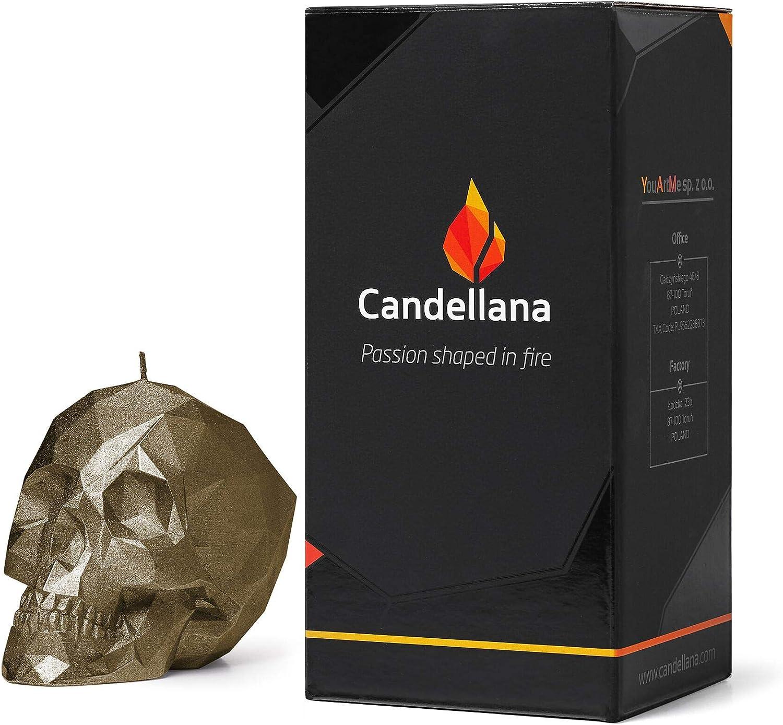 Candellana Kerze Kleiner Sch/ädel Low Poly H/öhe 7,5 cm Handgemacht in der EU