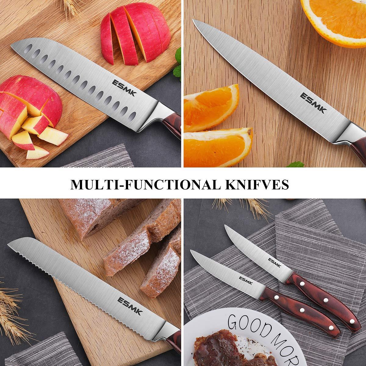 Knife Set, 15-Piece Kitchen Knife Set with Block Wooden, Manual Sharpening for Chef Knife Block Set, German Stainless Steel, ESMK (15 PCs Knife Block Set) by ESMK (Image #8)