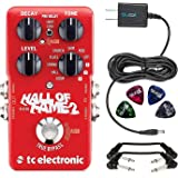 TC Electronic Hall of Fame 2 Reverb Foot Pedal - INCLUDES - Blucoil 9V Replacement Power Supply and 4 Pack of Guitar Picks PLUS 2 Hosa 6 inch Molded Right-Angle Guitar Patch Cables