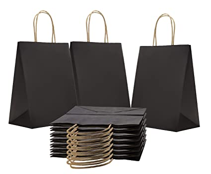 Amazoncom Paper Bags Shopping Bags Pack Of 50 Black Grocery Bags