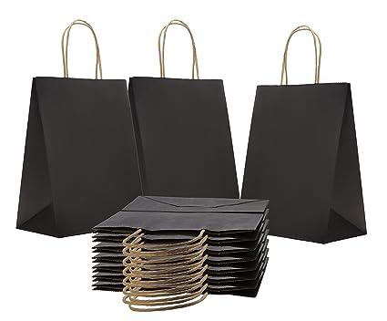 912047b49e4 Paper Bags Shopping Bags. Pack of 50 Black Grocery Bags 8 x 4.75 x 10.5 (8  x 4 3 4 x 10 1 2). Reusable Kraft Paper Bag with Handles. Wholesale Bulk    Retail ...