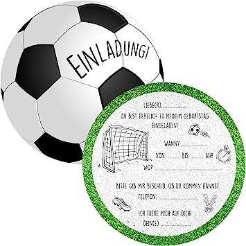 6 Einladungskarten Kindergeburtstag Fußball Jungen Mädchen Geburtstagsfeier