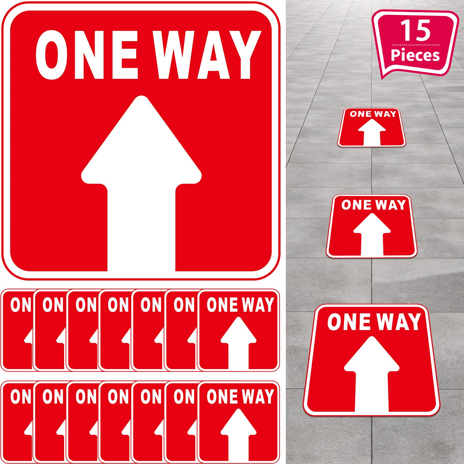 15 Pieces One Way Sticker Sign, Social Distance Directional Floor Decal Sticker Non-Slip Re-Adjustable Arrow Floor Sticker, Safety Floor Marker for Mall Store Office Grocery (Red, White)