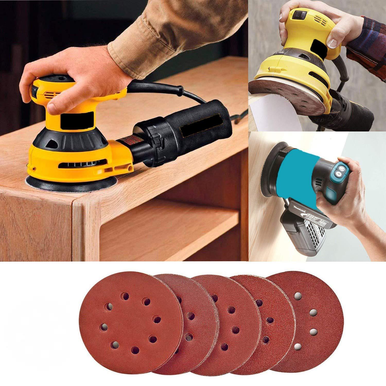 Aniyoo Lot de 100 disques abrasifs ronds Velcro /à 8 trous 40//60//80//100//150//180//240//320//40//600 pour ponceuse orbitale al/éatoire 125 mm