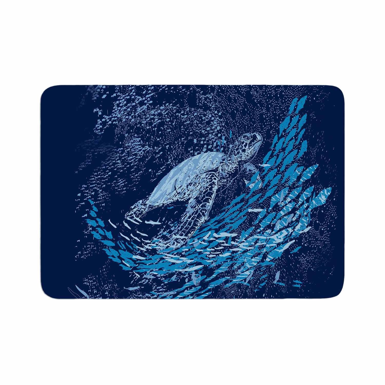 17 by 24 Kess InHouse Frederic Levy-Hadida The Turtle Way Aqua Blue Memory Foam/Bath Mat