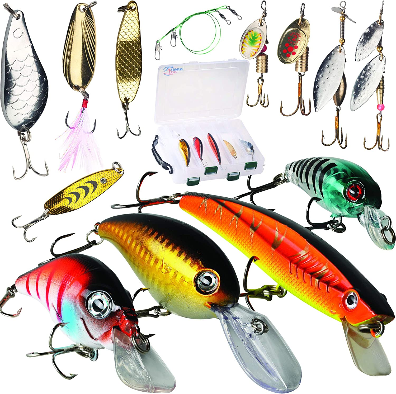 gift idea Fishing spoon lure set bass tackle spinner bait pike lure box