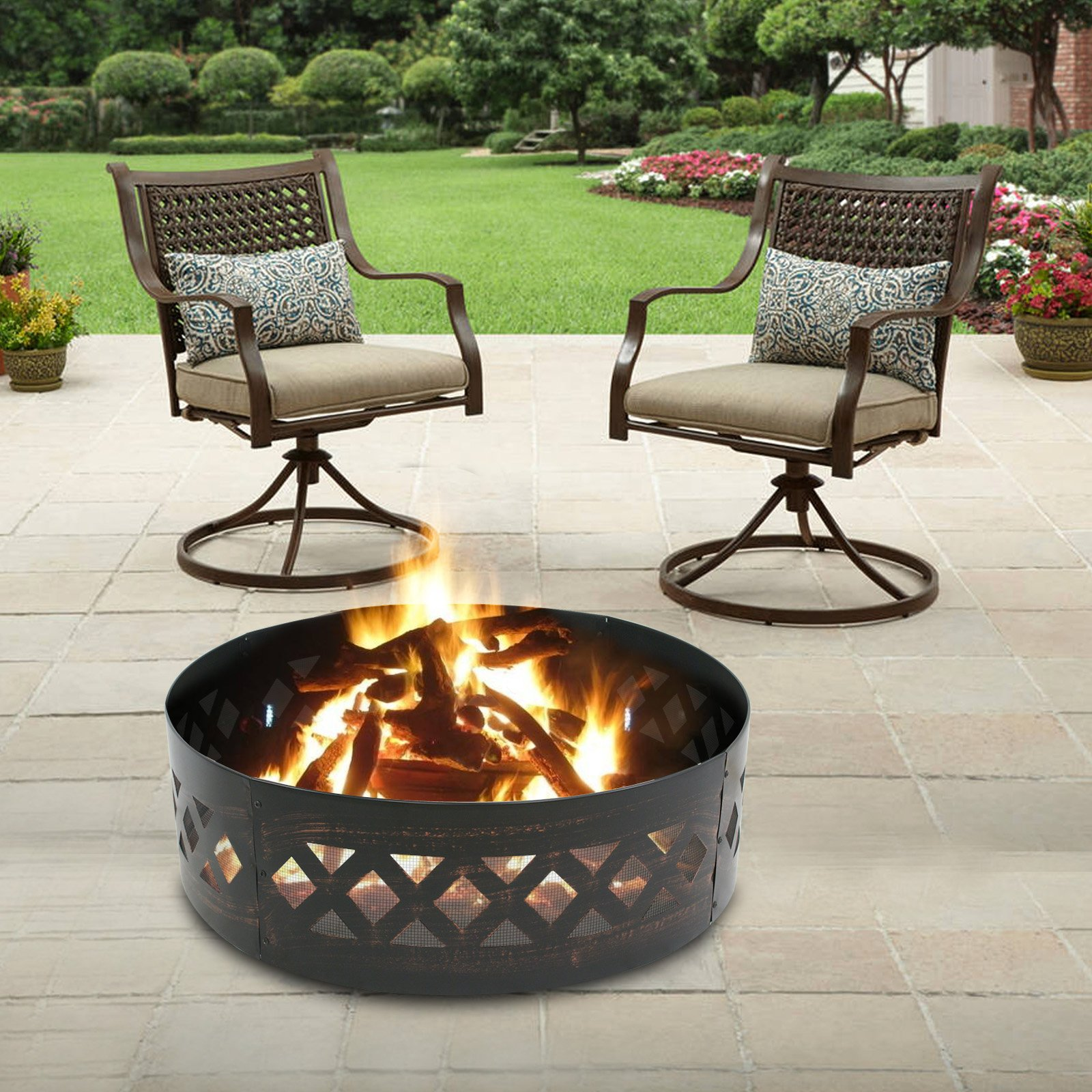 LEMY 37'' Heavy Duty Fire Ring Wilderness Fire Pit Ring Campfire Ring Steel Patio Camping Outdoors by LEMY (Image #6)