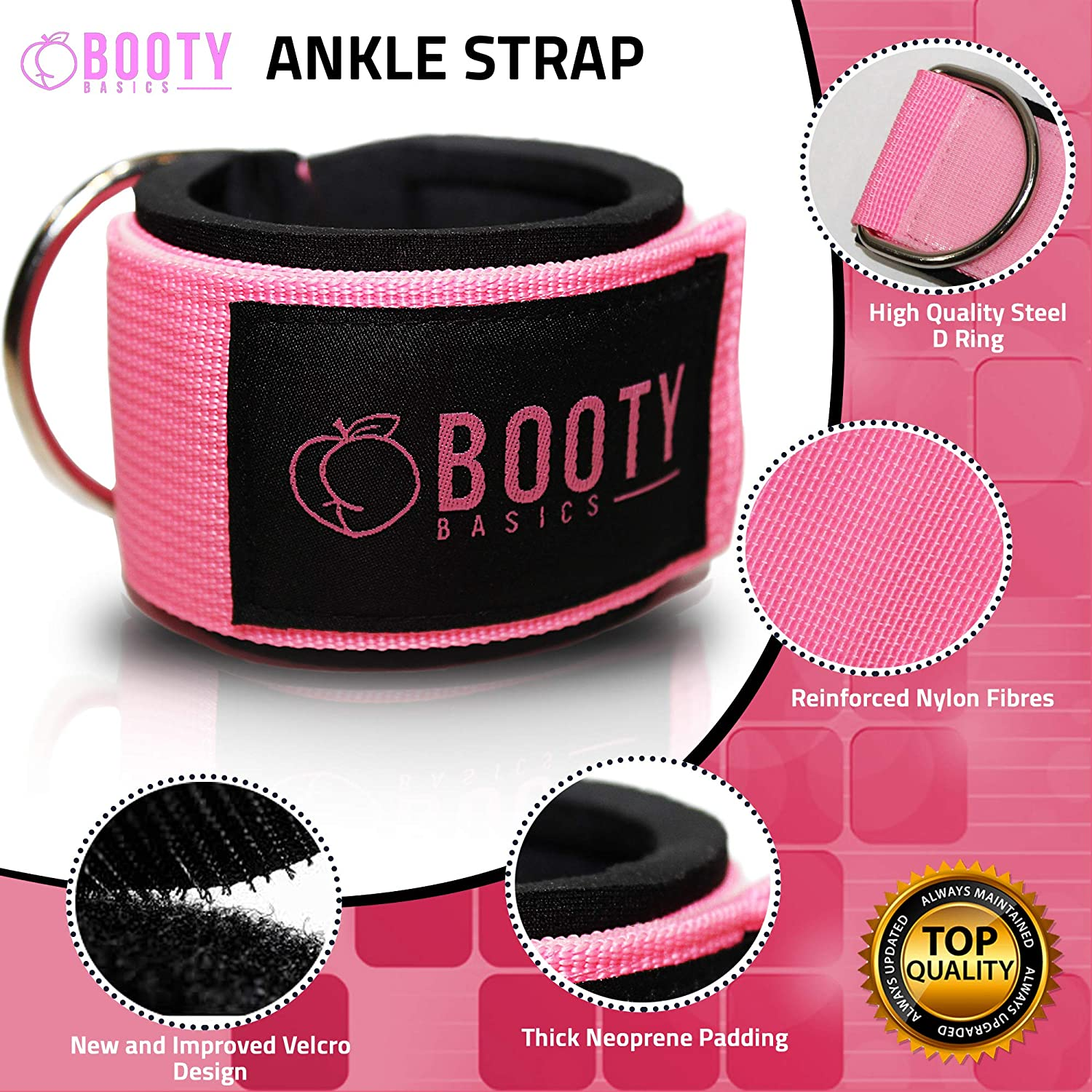 Fitness Ankle Strap for Cable Machines Padded Ankle Attachment for Women for Leg and Glute Workouts Booty Basics