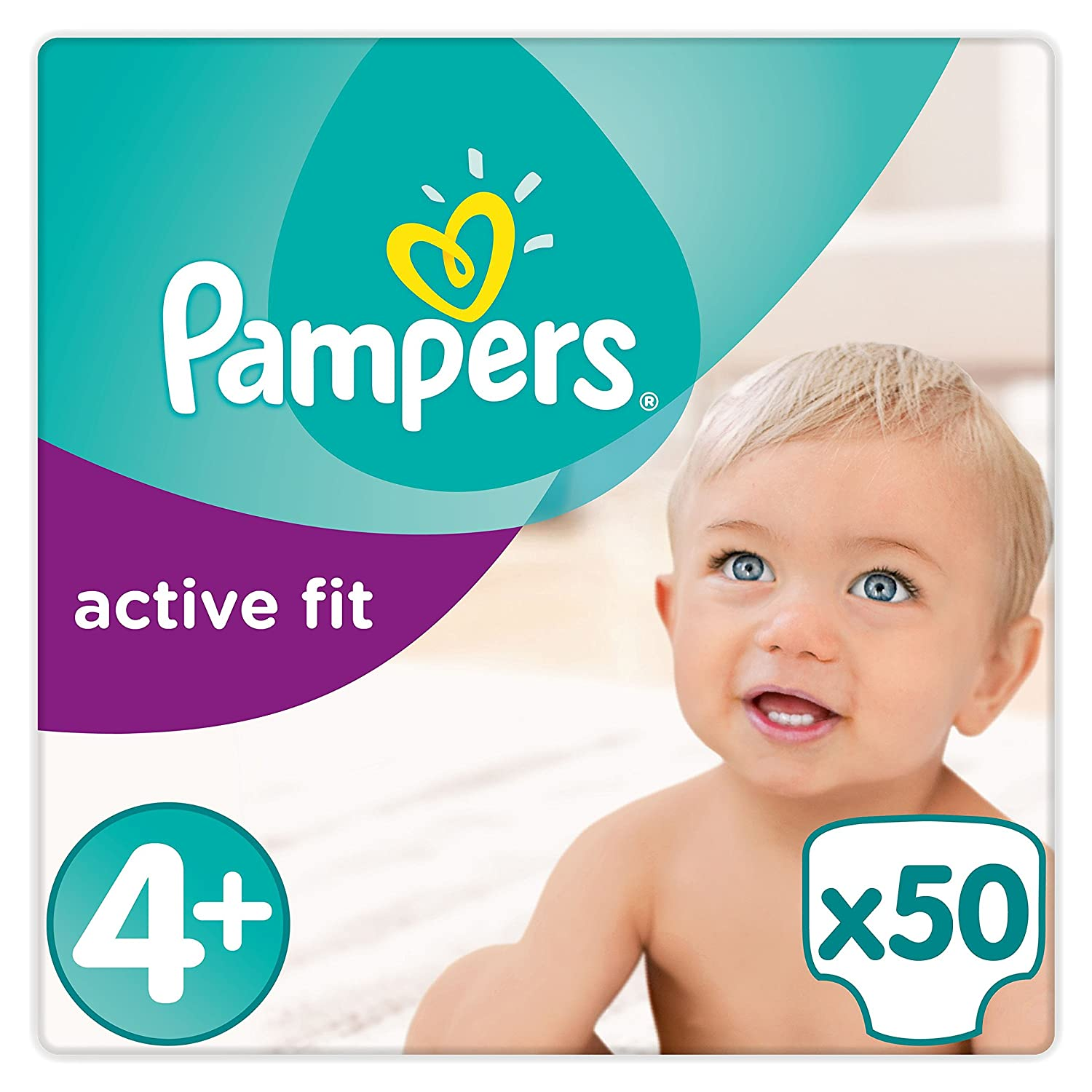 Pampers - Active Fit - Couches Taille 4+ (9-18 kg) - Pack Value+ (x50 couches)