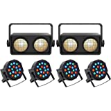 (2) Chauvet Shocker 2 Dual Zone DMX COB LED Blinder Stage Lights+(4
