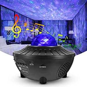 OOCCI Galaxy Projector Night Light Projector, Star Projector 3 in 1 Mood Light with LED Nebula Cloud Sky, Bluetooth Speaker, Auto Off Timer for Bedroom Game Room Home Theater Decor (Black)