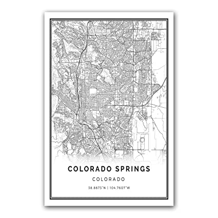 Colorado springs map poster print modern black and white wall art scandinavian home decor