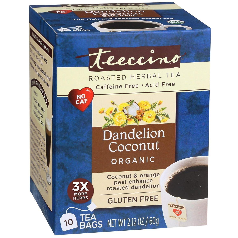 Teeccino Dandelion Tea – Organic Coconut – Roasted Herbal Tea | Organic Dandelion Root | Prebiotic | Caffeine Free | Gluten Free | Acid Free, 10 Tea Bags