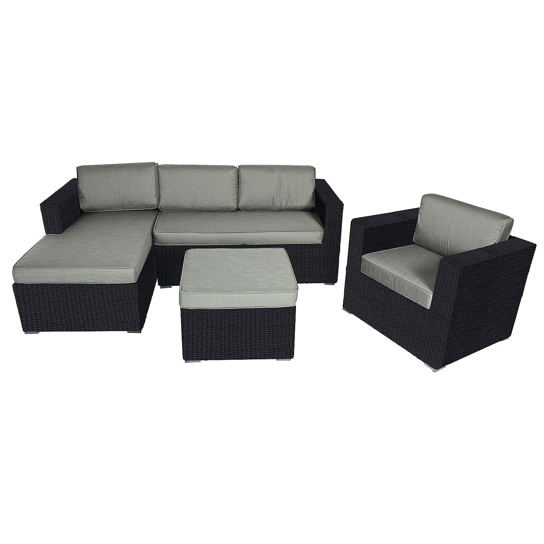 Eckbank Loungeset Jazz Black 4-teilig Gartenmöbel-Set 131/131/82/60 cm