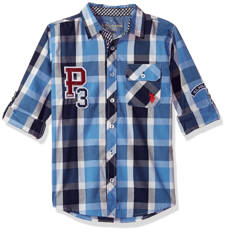 Polo Assn Boys Long Sleeve Plaid Shirt W7SC48NA U.S