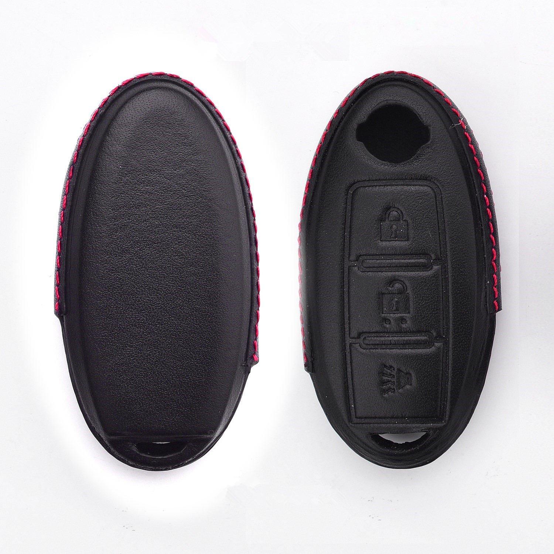 [ M。Jvisun ]レザーキーFobケースメンズレディース本革キーFobカバー用日産キー、車リモートキーポーチバッグwithキーリングキットキーチェーンキーチェーンホルダーメタルフック ブラック M.JVISUN-KC-PT2-RCZN B078S5NSQS  Black 3 Buttons
