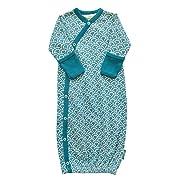 Parade Organics Kimono Gowns - Signature Prints Teal Fans 0-3 Months