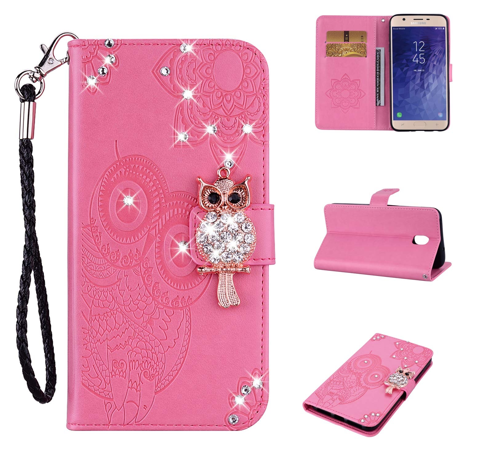 Strap Diamond Wallet Case for Samsung Galaxy J7 2018,Aoucase Luxury 3D Owl Bling Gems Magnetic Cute Mandala Print PU Leather Soft TPU Stand Flip Case with Black Dual-use Pen - Pink by Aoucase