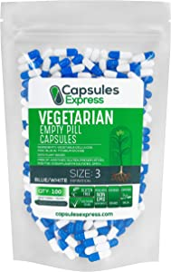Capsules Express- Size 3 Blue and White Empty Vegan Capsules Vegetarian / Vegetable Pill Capsule - DIY Powder Filling (100)