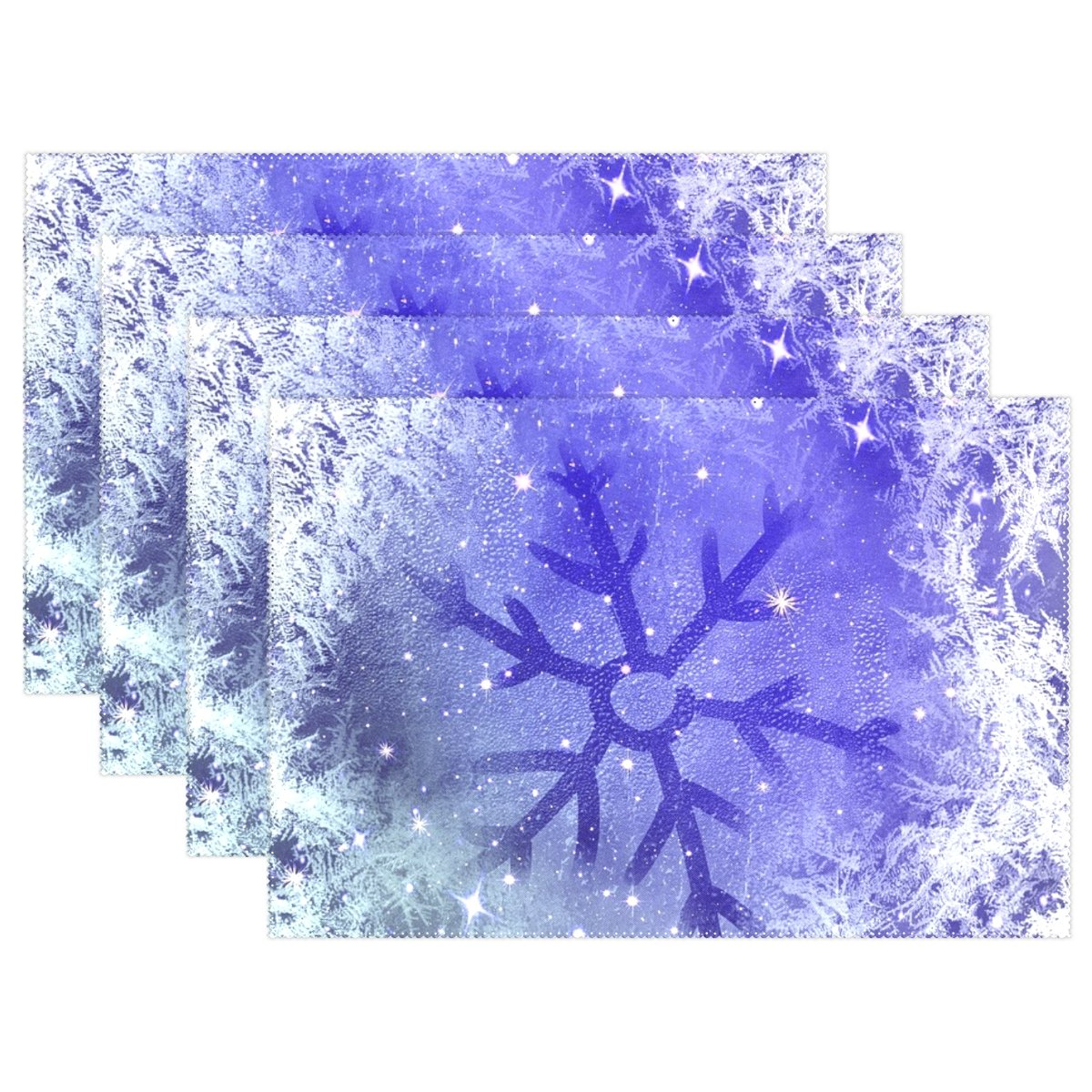 YPink Ice Flowers Frost Winter Eiskristalle Cold Ice Placemats Set of 4熱断熱材Stain Resistant forダイニングテーブル耐久性ノンスリップキッチンテーブルPlaceマット   B07FTHLKVC