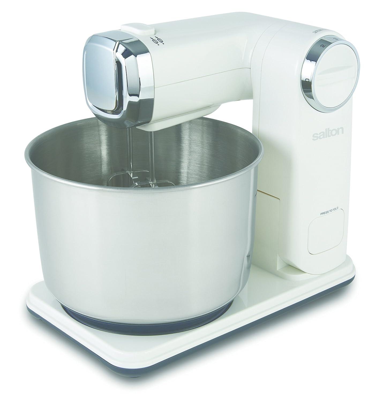 Salton Foldable Stand Mixer 6 Mixing Speeds, White KM1390