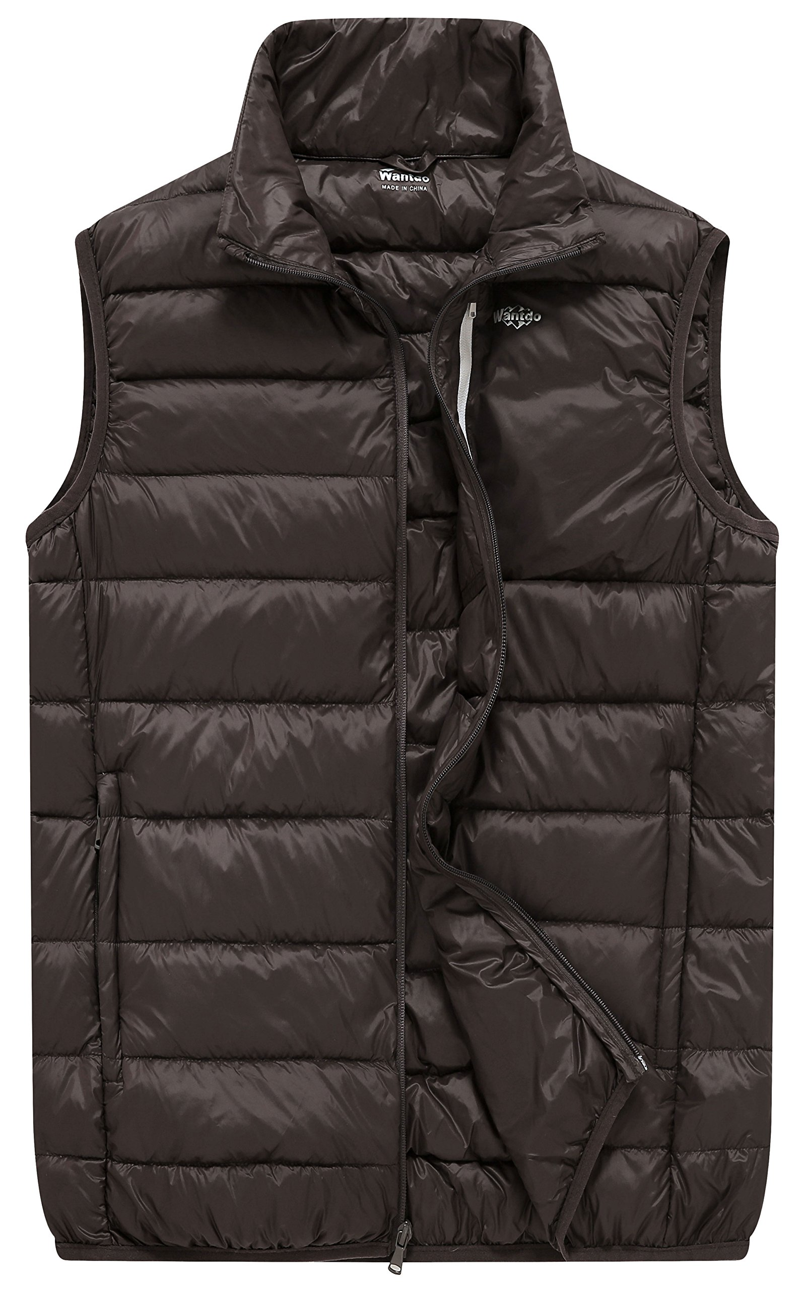 Wantdo Men's Packable Travel Ultra Light Padded Down Vest, Brown, S