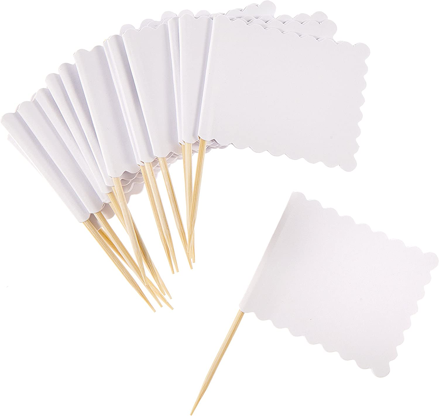 Darice White Scalloped Flag on Wood Pick, 14 Piece