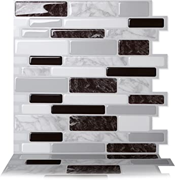 Amazon Com Tic Tac Tiles Peel And Stick Self Adhesive Removable Stick On Kitchen Backsplash Bathroom 3d Wall Tiles In Polito Designs Black White 10 Home Improvement