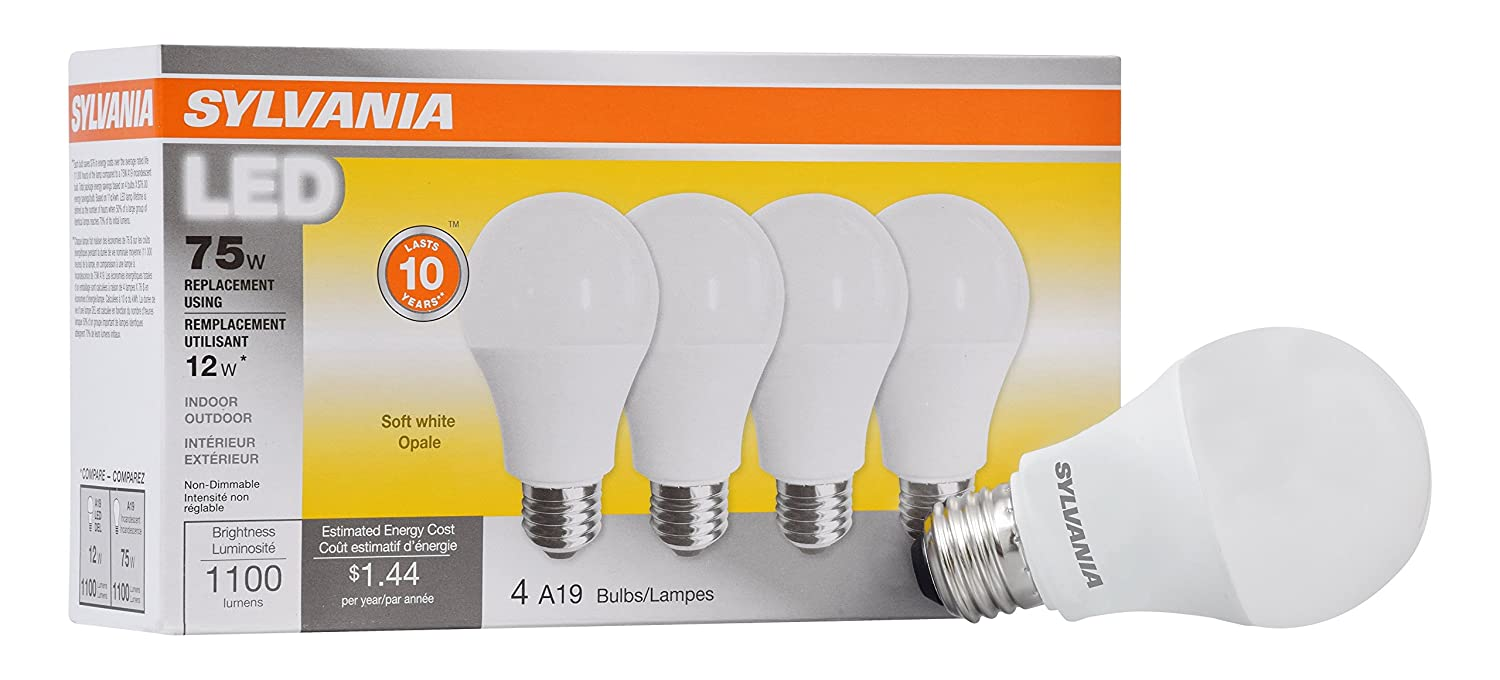 Sylvania Home Lighting 78103 Sylvania, 100W Equivalent, Led Light Bulb, A19 Lamp, 4 Pack, Efficient 14W, Daylight 5000K