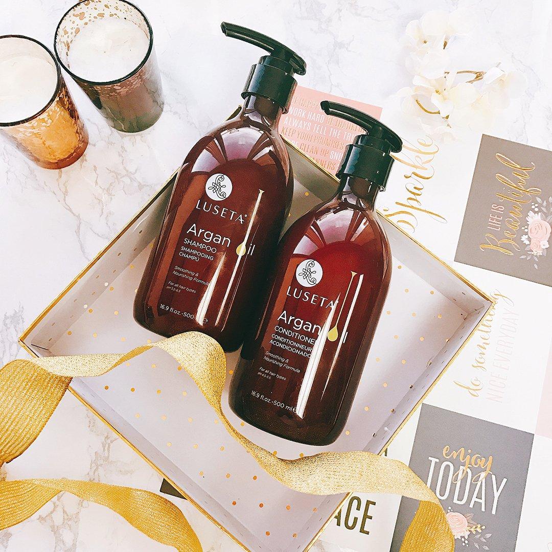 Set champú y acondicionador Luseta de aceite de argán para hidratar, dar brillo y reponer cabello dañado por calor y productos químicos, sin sulfatos, ...