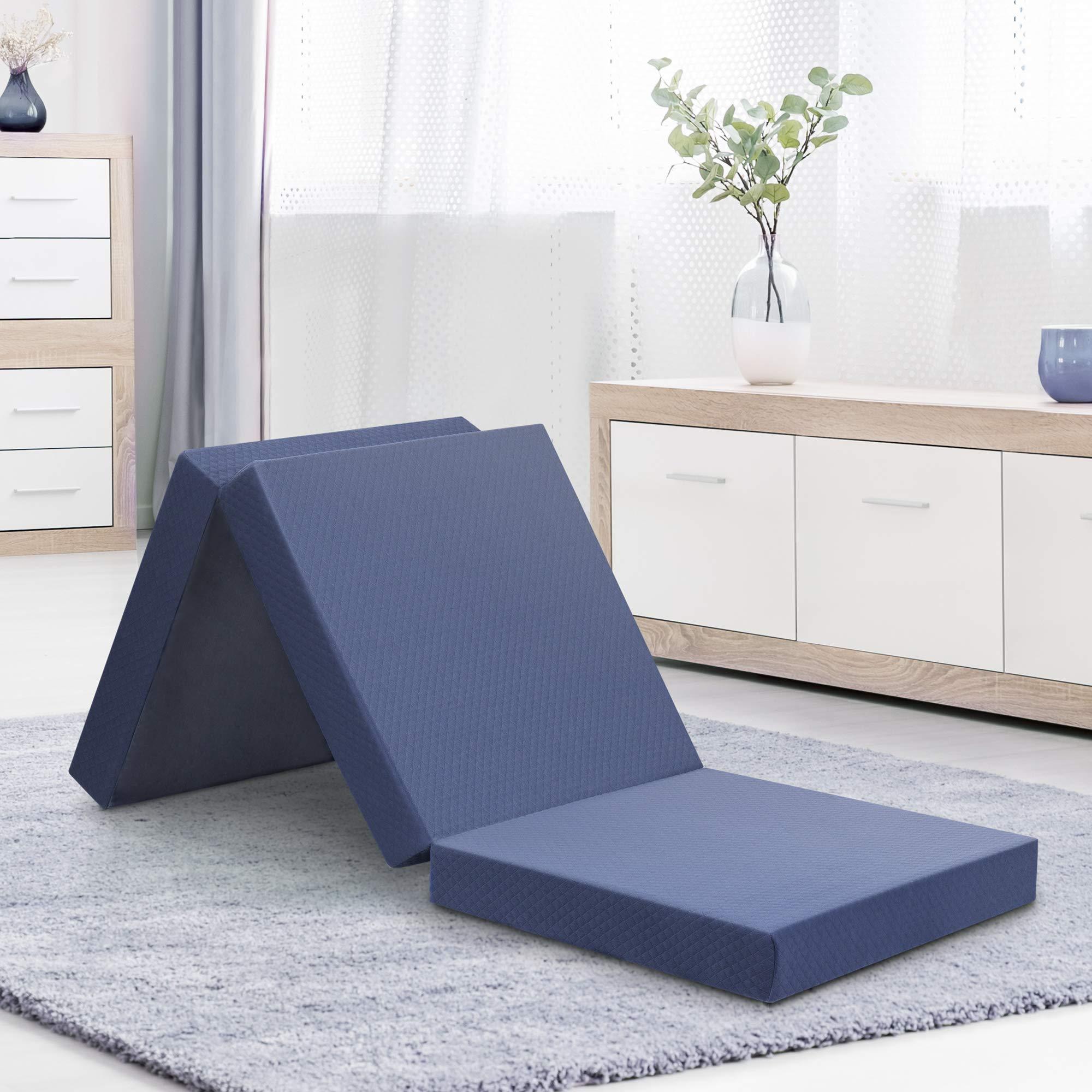 Olee Sleep  Topper Tri-Folding Memory Foam, 4 Inch, Grey