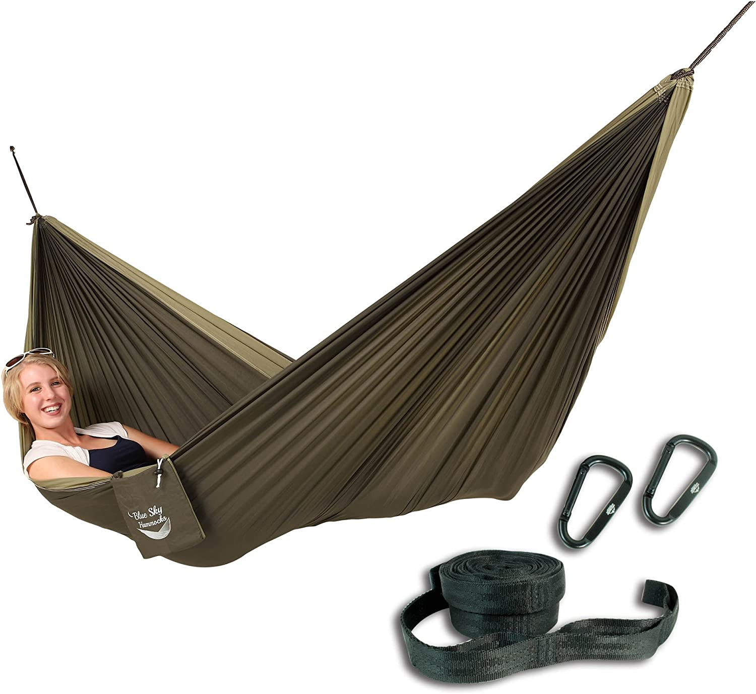 Blue Sky Outdoor Couple s Double Ultralight Hammock with Free Tree Straps, Green