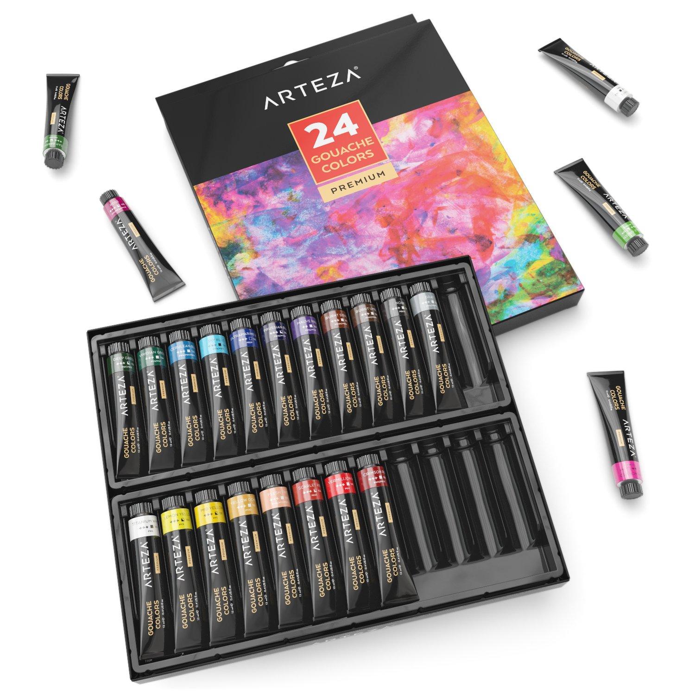 ARTEZA Gouache Premium Artist Paints Set - 24 Colors (24 x 12 ml / 0.74 US fl oz)