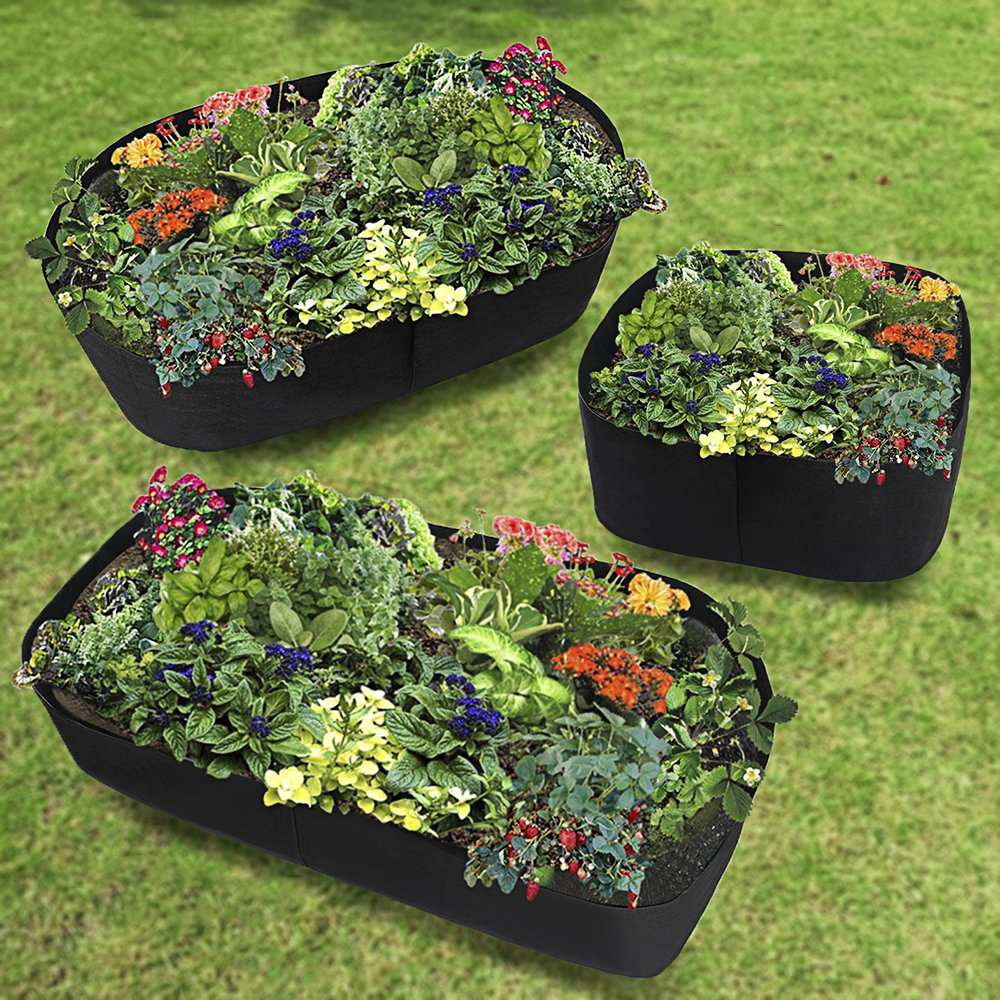 Xnferty Fabric Raised Garden Bed, 2x2 Feet Square Breathable Planting Container Grow Bag Planter Pot for Plants, Flowers, Vegetables (Black)