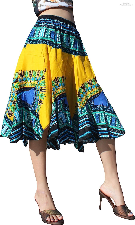 Raan Pah Muang RaanPahMuang CarvedパッチDashiki print short Capriウエストゴムダンススカート B06XN5CXDX Large|ゴールドイエロー ゴールドイエロー Large