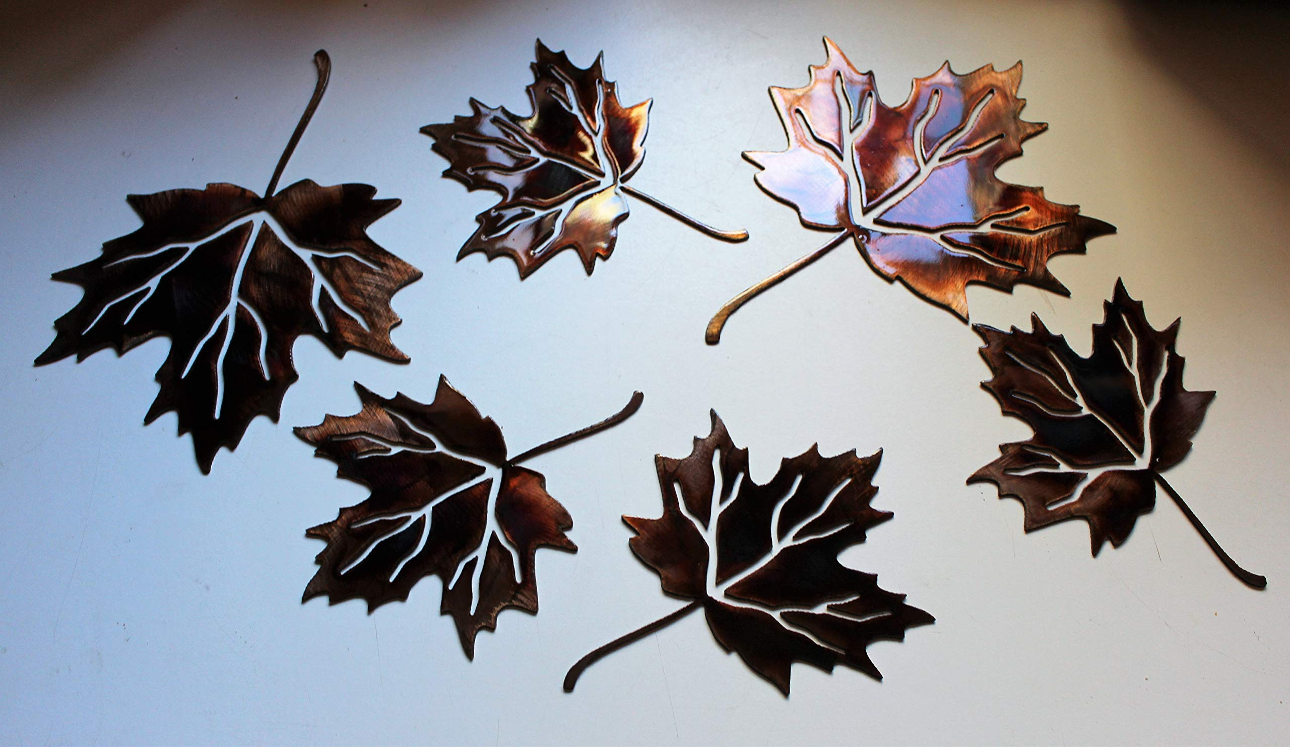 Metal Wall Art Maple Leaves Set of 6 by HG Artworks