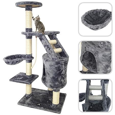 Todeco - Árbol para Gatos, Escalador para Gatos - Material: MDF - Tamaño de la casa de gato: 30,0 x 30,0 x 42,9 cm - 120 cm, 5 plataformas, color Gris