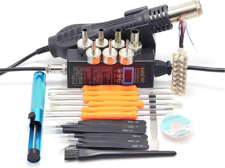 Haoyushangmao 887 portátil estación de soldadura de aire caliente pistola de aire caliente de control micro ordenador inteligente temperatura anti-estática 8858 (color : C)