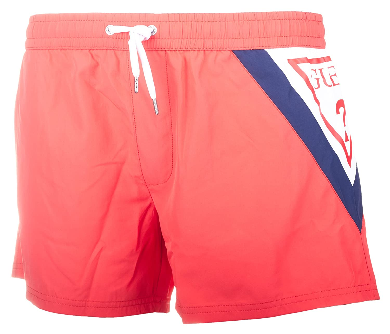 Guess Logo Clásico Natación Pantalones Cortos De Hombres, Coral Y Rojo