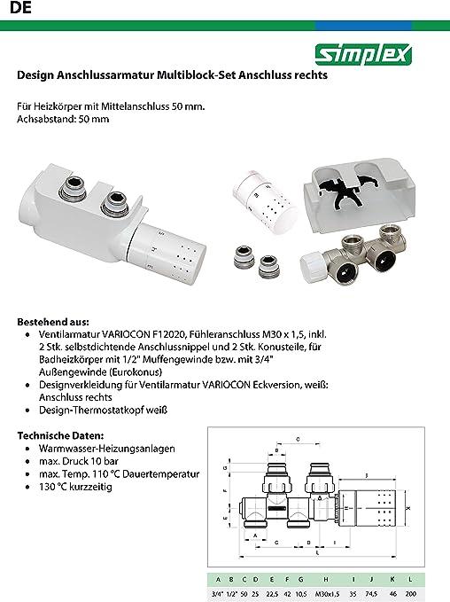 Plastique Laiton Nickel/é EPDM Blanc Simplex F12013 Variocon Ensemble de Vannes de R/égulation Design